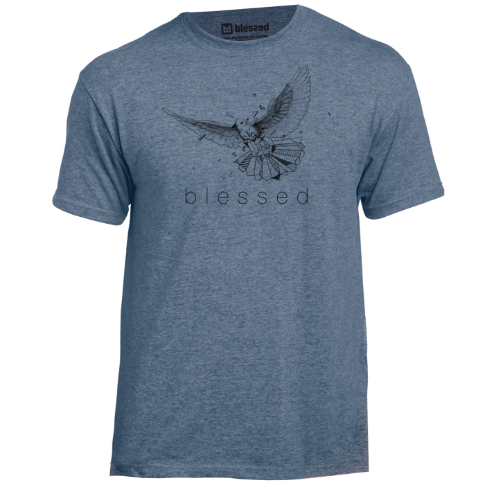 blessed-men-t-shirt-taube-heather-indigo-front New Collection : Taube Heather Indgo