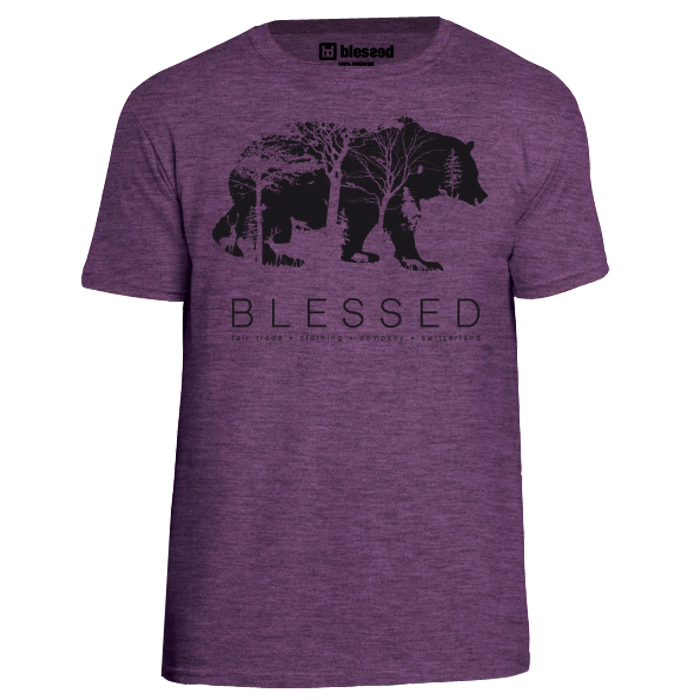 blessed_men-t-shirt-bear_heather-aubergine-front New Collection : Bear Heather Aubergine