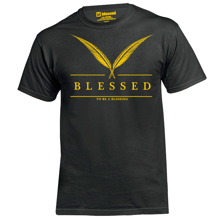 blessed_men-t-shirt-feather-black-front New Collection : Feather Yellow-Black